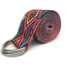 2019 entrenamiento de imprenta Correa de yoga stretch estampado de flores D-Ring cintura de la cintura ejercicio Fitness cinturón de entrenamiento entrenamiento de imprenta baratos