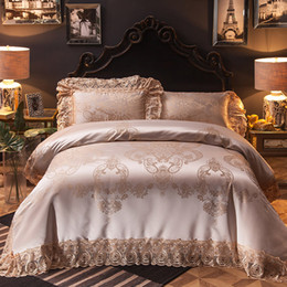 Wholesale Wedding Bedding Sets Lace - 4 6 10 Pcs Luxury Satin Lace Decorative Wedding Royal Bedding sets Queen King size Duvet cover Bed sheet spread set Pillowcases
