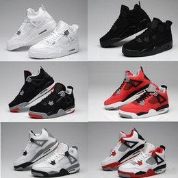 Wholesale Aa Basketball - AA Air retro 4 men Military Motosports blue Alternate 89 Pure Money White Cement Royalty bred Fire Red Black Cat oreo AIR Basketball shoes