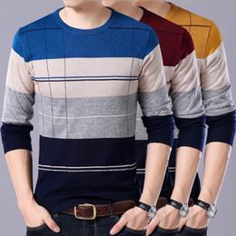 uomini di pullover a crochet Sconti Maglione a righe O-Collo uomo 2018 New Autumn Winter Maglione Moda uomo tendenza Pullover Crochet Men Masculino