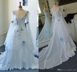 lace sheer back wedding ruffles Coupons - Vintage Celtic Gothic Corset wedding dresses with Long Sleeve Plus Size Sky Blue Medieval Halloween Occasion bridal gowns