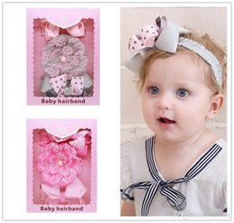 Wholesale bow pack - Baby Headbands Set Bow Lace Headbands Box Pack Baby Girls Dot Grosgrain Ribbon Bowknot Headbands Boutique Children Hair Accessories KHA423