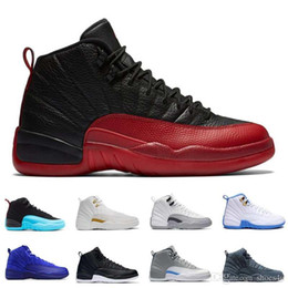 Wholesale Cheap Glitter Boots - [With Box]cheap mens basketball shoes retro 12 man TAXI Playoff ovo white Gray Black Gym barons cherry RED Flu Game sport sneaker boots