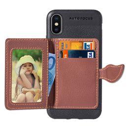 2020 iphone rückentasche iPhone XS Max XR TPU Rückseite mit Leder Kartentasche Fotorahmen Stoßfeste Schutzhüllen für 5,8 6,1 6,5 Zoll Neues iPhone XS Max XR rabatt iphone rückentasche