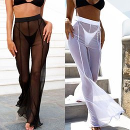 Le donne di swimwear lunghe online-Pantaloni lunghi da donna 2018 New Fashion Womens Beach Mesh Sheer Bikini Swimwear Trasparente Pant pantaloni lunghi