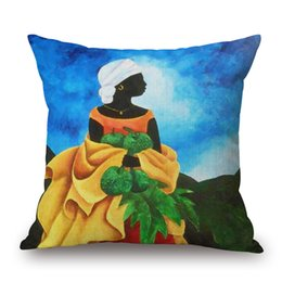 Wholesale Fruit Oil Paintings - Africa Woman Fruit Farmer Cushion Cover Oil Painting Portrait Art Cushion Covers Sofa Throw Decorative Linen Cotton Pillow Case