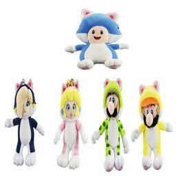 Wholesale Luigi Toys - 100% Cotton 5pcs Lot 17cm-20cm Super Mario Bros Rosalina Peach Mario Luigi Toad Princess Cat Plush Doll Toy For Child Best Gifts