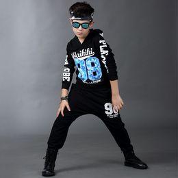 Wholesale Hip Hop Clothing For Girls - Kids Sport Clothes For Boys Girls 2 Pieces Black Letter Print Hip Hop Hoodies Pants Boys Tracksuit Brand Children Clothing