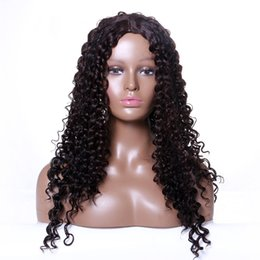 Wholesale mixed synthetic hair weave - Z&F 2018 New Afro Kinky Curly Weave Hairstyle Wigs Middle Part Black Long Kinky Synthetic Hair Wigs