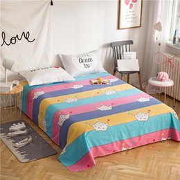 pink animal print bedding 2018 - 3pcs Stripes bedding Sanding Flat Bed Sheet Single Double Bed Flat Sheet Bedroom Use Children girl Adults set soft Pillowcases