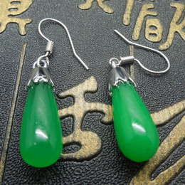Wholesale Carved Jade Charms - DingSheng Natural Malaysian jade Earring water drop shape Accessories Malay Green Jasper Earings Jewelry Charms For Woman