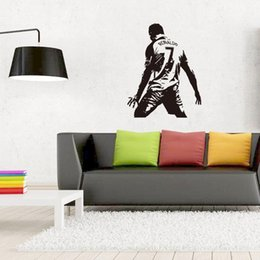 Wholesale boys decals - Real Madrid Football Cristiano Ronaldo Wall Sticker PVC Football Wall Art Decal for Living Room Boys Room Decoration