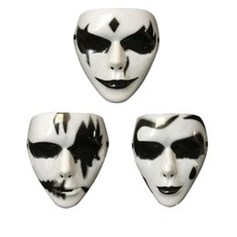 Wholesale Ghost Painting - 3pcs Set Plastic Hand-Painted White Ghost Horror Scary Gothic Mask Props With Adjustable Strap For Halloween Cosplay Party