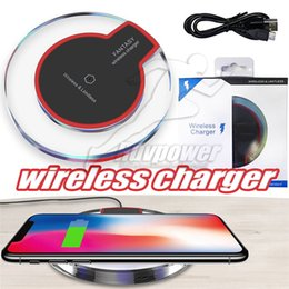 Wholesale universal receivers - Qi Wireless Charger Charging For Samsung S9 S8 Note 8 Plus Iphone X 8 Plus Crystal Charging Pad With Retail Package