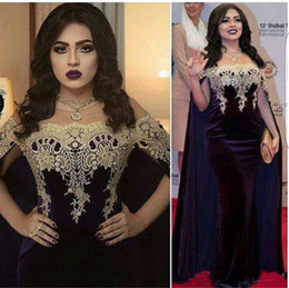 Wholesale velvet vintage jacket - Saudi Arabic Style Evening Dresses With Cape Off the Shoulder Lace Mermaid Clebrity Dresses Formal Prom Gowns Latest Party Gown