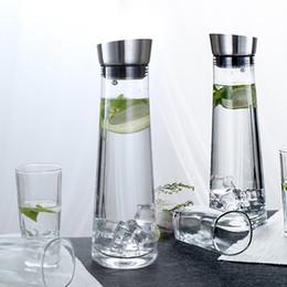 botella de jugo de vidrio Rebajas Vaso de vidrio Zumos transparentes de acero inoxidable Botella Drinkware Caldera de agua fría caliente Gran capacidad Decoración para el hogar Accesorios de cocina 28yj bb