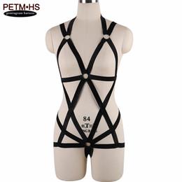 Wholesale Dance Body Wear - wholesale Womens pastel goth Body Harness Cage Bondage Garter Belt Black Elastic Strappy Lingerie Festival Exotic Apparel Party Dance Wear