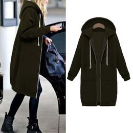 Sudadera abierta online-Sudadera de manga larga caliente Chaqueta de abrigo larga Tops Outwear Warm Zipper de mujer abierta con capucha invierno Otoño