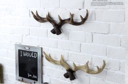 Wholesale Tree Wall Designs - high quality resin antler design clothes rack coat hanger clothes tree wall decoraction--American country creative hanging