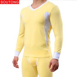 Wholesale long underwear men shirt - Soutong Underwear Winter Men Thermal Underwear Mens Long Johns Slim Sets Cotton Long Johns Men Sets Soft Underpants