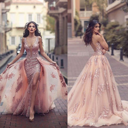 Wholesale Cape Vintage - Saudi Arabic Overskirt Mermaid Evening Dresses 2018 New Design Blush Sheer Backless V Neck Appliques with Capes Long Prom Party Split Gowns