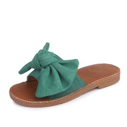 Wholesale Wholesale Hotel Plush Slippers - High Quality Women Fashion Summer Slipper Lady Outdoor Scuff Casual Beach Holiday Soft Lofers Slip On Sandal Open Toe Sexy Bowtie Loafers
