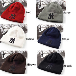 cappelli di tacchino all'ingrosso Sconti Designer inverno caldo Cappellino NY ricamato lettere Beanie Per Unisex Moda Outdoor Sci Cappellini 6 colori 2019 della piattaforma libera la nave