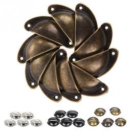 Wholesale Iron Cabinets - 10pcs Antique Wrought Iron Door Handle Shells Cabinet Vintage Drawers Cupboard Door Handle