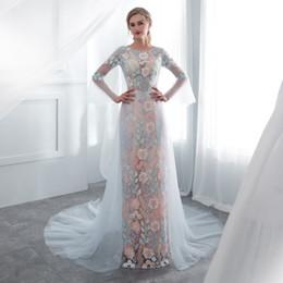Реальные цветочные изображения онлайн-Пастели цветок аппликация колонка труба рукава платья выпускного вечера с чистой длинный поезд 100% реальное изображение быстрая доставка вечернее платье