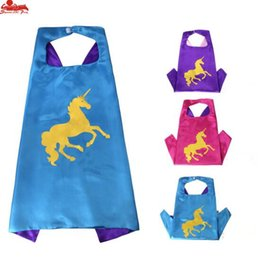 Wholesale performance stars - 3 styles two-layer 70*70CM Unicorn Capes and mask set Superhero cosplay capes+mask Halloween cape mask for Kids 2pcs set