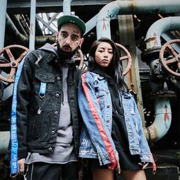 patch jeans en dentelle Promotion Rue Hip Hop Couple Denim Veste Kanye West Loose LET'S ROCK Lace Up Trou Patch Patch Design Jeans Vestes Solide Vintage Manteaux