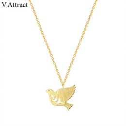Wholesale Bird Branches Necklace - whole saleV Attract 2017 Cute Branch Bird Pendants Necklace Women Fashion Jewelry Silver Chain Peace Dove Choker Couple Charm Collier