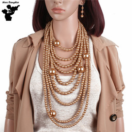 Большая бортовая цепь онлайн-Long Chain  Gold Pearl  Choker Statement Necklace and Earrings Sets for Women Large Pearl Tassel Necklace Jewelry Set