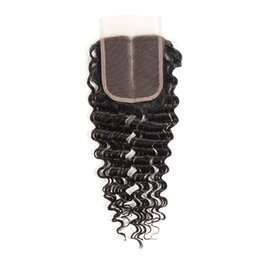 1 PC Deep Wave Dentelle Fermeture Livraison Gratuite Brésilien Péruvien Mongol Malaisien Indien Cambodgien Remy Humain Fermeture de Cheveux Non Transformés ? partir de fabricateur
