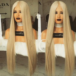 Wholesale honey blonde lace front - Silky Straight #613 Blonde Lace Front Wigs For Balck Women Virgin Brazilian Honey Blond Hair Glueless Full Lace Human Hair Wigs Baby Hair