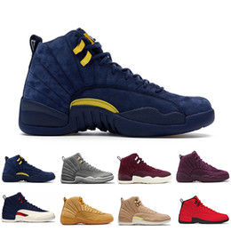 Wholesale rhinestone christmas - 2018 Cheap 12 Bordeaux Dark Grey wool basketball shoes white Flu Game UNC Gym red taxi gamma french blue Suede sneaker US5.5-13