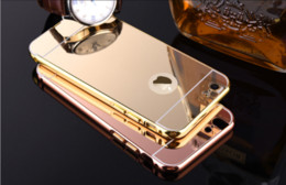 Wholesale Iphone 5s Mirror Case - Luxury Acrylic Mirror Aluminium metal Bumper Case For iPhone 5 5S 6 Plus 6S galaxy S3 4 5 Grand Prime G530 S6 S7 edge A5 A3 A8 note 3 4 5