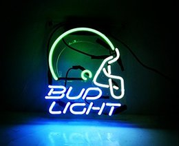 "Wholesale Bud Light Commercials - Bud Helmet Neon Signs Light Decorated for Bar Room Game Lights Windows Garage Wall Signs ""10 In*8 In""(Blue)"