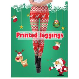 2019 stampa di alberi leggings Donne Natale Santa / Pupazzo di neve / Albero / alce Stampa Leggings Pantaloni Yoga Sport Vita alta Xmas Gym Yoga Fitness Running Pantaloni Leggings sconti stampa di alberi leggings