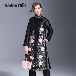 Wholesale Ladies Winter Trench Coats - Embro Mill autumn & winter vintage women trench coat embroidery plus size elegant slim lady cotton floral chengsam coat -XXXL