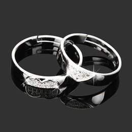 Wholesale Amazing For Sale - whole sale2018 New 1 pair Women Men Love Heart Shape Promise Band Opening Ring for Lover Wedding Jewelry Gift Amazing hot sales Jan 12