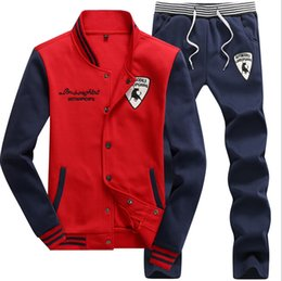 Wholesale Cardigan Big Size - Casual sporting suit men warm hooded tracksuit track polo men's sweat suits set zipper patchwork letter print large size 4XL big