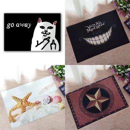 Wholesale Starfish Cartoon - Doorway Carpet Imitate Coconut Fiber Rubber Starfish Home Furnishing Flocked Pad Cat Printing Mat Funny Creative 12 99bh V