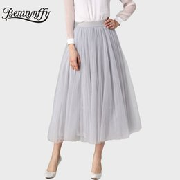 Wholesale Long Tutus For Adults - Benuynffy Pleated Maxi Tulle Skirts Womens Autumn Spring Summer Elegant Big Swing Long High Waist Adult Tutu Skirt for Women 385