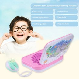 Wholesale children learning computer - Kids Mini Projection Learning Machine Computer Toys Children Pronunciation Chinese English Learning Education Toys Random Color