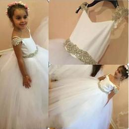 Wholesale tulle wedding belt shoulder - White Flower Girl Dresses Off The Shoulder for Wedding 2018 Cute Floor Length Princess Pageant Dresses With Crystals Belt
