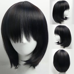 Wholesale Womens Bangs - Synthetic Hair Womens Wigs Ladies Wig Natural Style Straight Hair Black Bob Wigs with Bangs for Daily Life Party African American Wig