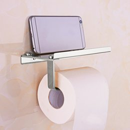 Wholesale Golden Bathroom Accessories - Silver Golden Stainless Steel Cell Phone Holder Towel Roll Paper Tissue Rack Hardware Accessory Great Bathroom Tool Hot Sale