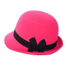 Chapéus de menina bonita on-line-Mulheres Menina Arco nó Bela Tampas de Praia Sentiu Lã Fedora Bowler Caminhadas Caps Chapéus Suprimentos Ao Ar Livre Novo 2017