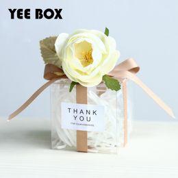 20pcs / lot wedding / favores de partido festivo / wedding 6 * 6 * 6cm caja cuadrada del caramelo necesidad de los regalos transparentes de la boda de las cajas del caramelo de DIY para las huéspedes desde fabricantes